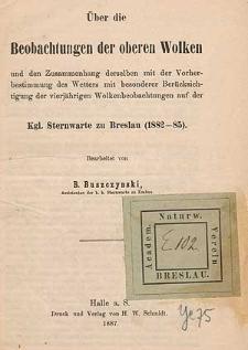 Über die Beobachtungen der oberen Wolken [...] Königliche Sternwarte zu Breslau (1882-1885).