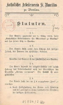 Statuten / Katholischer Arbeiterverein St. Mauritius zu Breslau