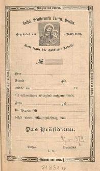 Statuten / Katholischer Arbeiterverein Odertor, Breslau