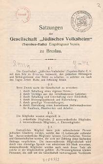"""Satzungen der Gesellschaft """"Jüdisches Volksheim"""" (Toynbee-Halle) Eingetragener Verein zu Breslau"""