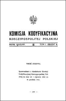 Komisja Kodyfikacyjna Rzeczypospolitej Polskiej. Dział Ogólny 1926 T. 1, z. 8