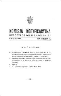 Komisja Kodyfikacyjna Rzeczypospolitej Polskiej. Dział Ogólny 1927 T. 1, z. 10