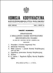 Komisja Kodyfikacyjna Rzeczypospolitej Polskiej. Dział Ogólny 1931 T. 1, z. 14