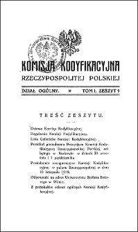 Komisja Kodyfikacyjna Rzeczypospolitej Polskiej. Dział Ogólny 1920 T. 1, z. 1