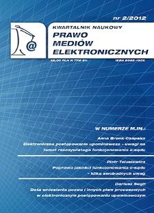 Platformy społecznościowe w komunikacji elektronicznej a problematyka ochrony danych osobowych