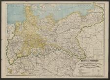 Karte von Preussen mit seinen neuesten Länder-Erwerbungen (1815-1866) übersichtlich in Buntdruck dargestellt. Zugleich vollständige Eisenbahnkarte von Nord- und dem grössten Theile von Süddeutschland