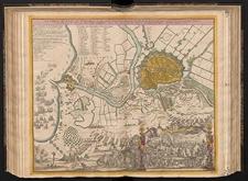 Das belagerte Danzig eine weltberühmte Haupt ud Handelstatt des Polnischen Preussens, mit ihren Vorstaedten und der Weichselmünder Schanz wie solche vom 14. Febr. 1734 von denen Russen eingeschlossen, von 20. Mart. aber biss zu der den 7. ten Jul. erfolgten Ubergabe, förmlich belagert worden.