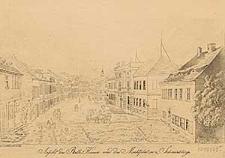 Ansicht des Rath=Hauses und des Marktplatzes zu Schmiedeberg