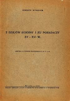 Z dziejów Łosośny i jej posiadaczy XV-XVI w.