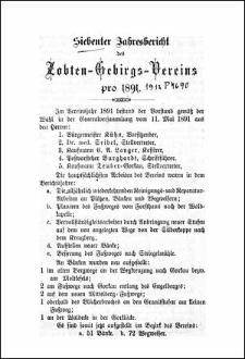 Siebenter Jahresbericht des Zobten-Gebirgs-Vereins pro 1891