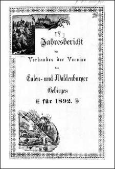 Jahresbericht des Verbandes der Vereine des Eulen- und Waldenburger Gebirges für 1892