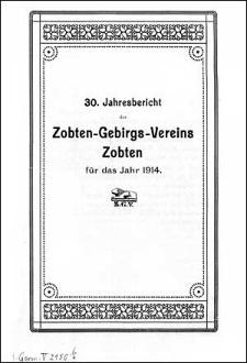 Jahresbericht des Zobten-Gebirgs-Vereins Zobten für das Jahr 1914