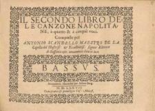 Il secondo libro dele canzone napolitane a quatro & à cinque voci [...] / Basso