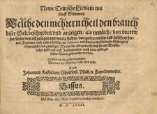 Newe teutsche Liedlein mit fünff Stimmen [...] also gemacht, dass sie mit menschlicher Stimm, und auff Instrumenten [...] können gebrauchet werden [...] Durch Johannem Knöfelium [...] / Basso