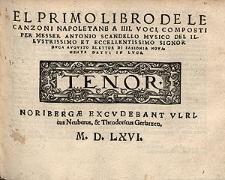 El primo libro de le canzoni napoletane a III voci [...] / Tenor