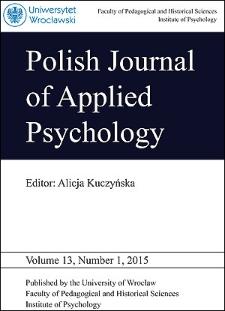 Polish Journal of Applied Psychology Volume 13, Number 1, 2015
