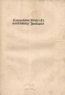 Concordantiae Bibliae et Canonum.