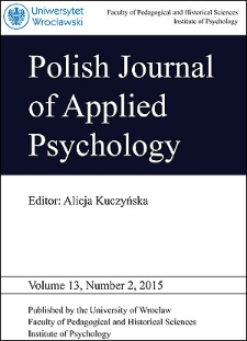 Polish Journal of Applied Psychology Volume 13, Number 2, 2015