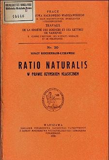 Ratio naturalis w prawie rzymskiem klasycznem