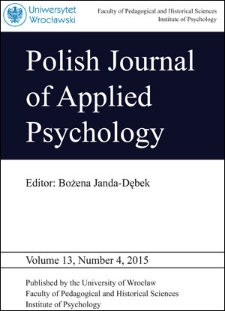 Polish Journal of Applied Psychology Volume 13, Number 4, 2015