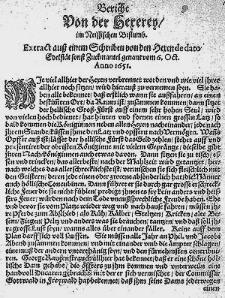 Bericht Von der Hexerey im Neissischen Bistumb [...].