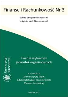 Finanse wybranych jednostek organizacyjnych