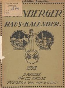Grünberger Hauskalender: Heimatkalender auf das Jahr 1922 für die Kreise Grünberg und Freystadt
