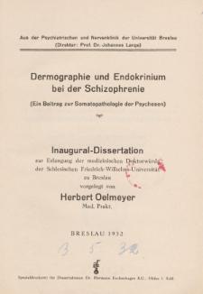Dermographie und Endokrinium bei der Schizophrenie : (ein Beitrag zur Somatopathologie der Psychosen).