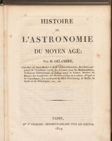 Histoire de L'Astronomie du Moyen Age