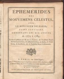 Éphémérides des Mouvements Célestes, de1775 à 1784