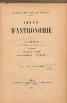 Cours D'Astronomie. I. Astronomie Theoretique