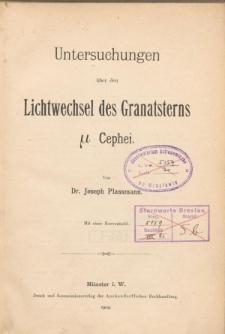 Untersuchungen über den Lichtwechsel des Granatsterns µ Cephei