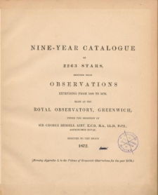 Nine-year catalogue of 2263 stars, deduced from observations extending from 1868 to 1876